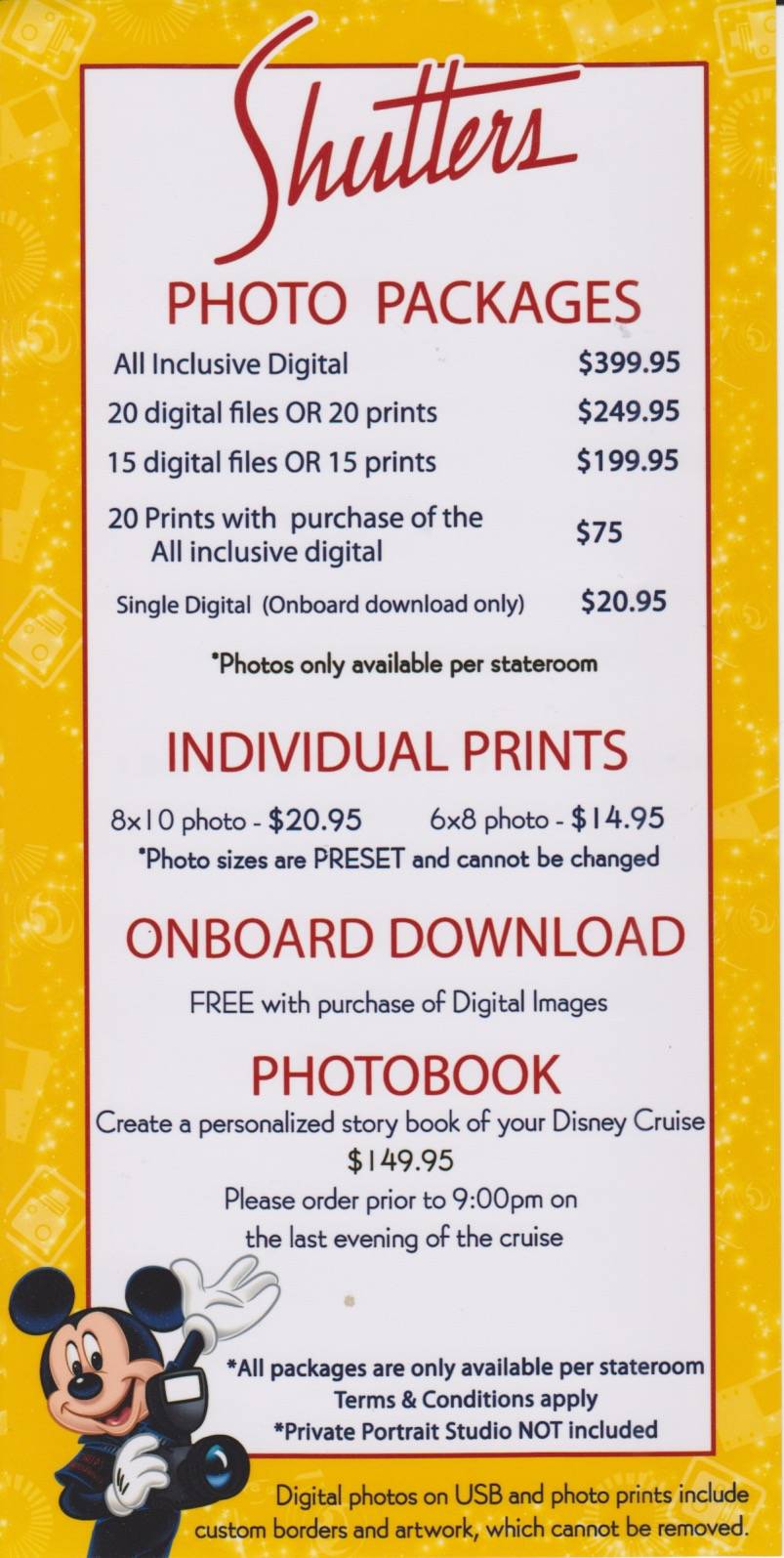 Disney cruise shutters prices
